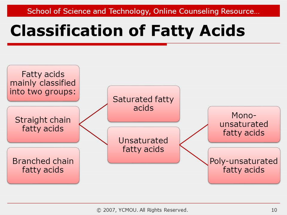 School of Science and Technology, Online Counseling Resource… Classification of Fatty Acids Fatty acids mainly classified into two groups: Straight ch