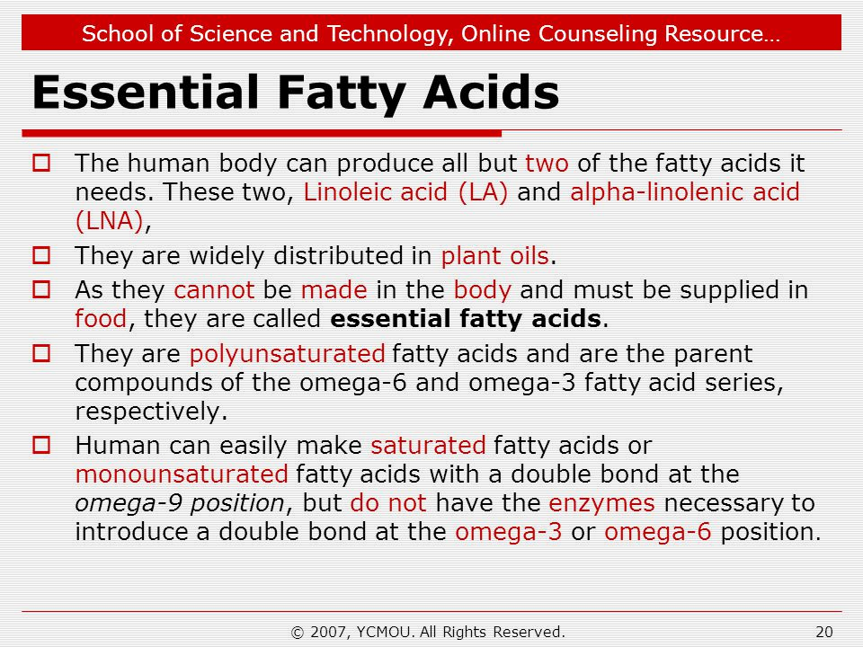 School of Science and Technology, Online Counseling Resource… Essential Fatty Acids  The human body can produce all but two of the fatty acids it nee