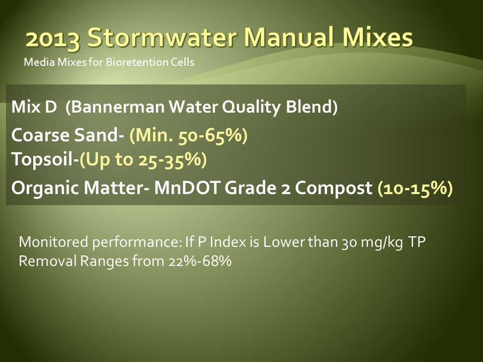 Media Mixes for Bioretention Cells Mix D (Bannerman Water Quality Blend) Coarse Sand- (Min.