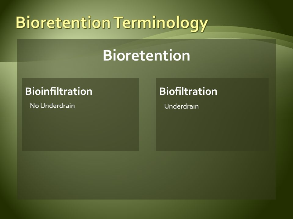 Biofiltration (underdrain) Underdrain at Bottom With Internal Water Storage Elevated Underdrain Lined Biofiltration