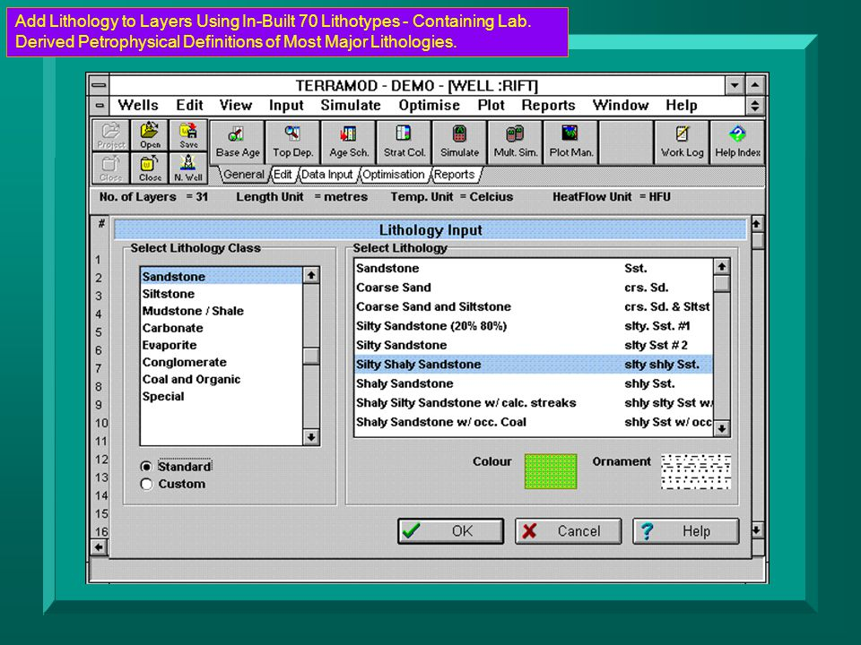 Add Lithology to Layers Using In-Built 70 Lithotypes - Containing Lab. Derived Petrophysical Definitions of Most Major Lithologies.