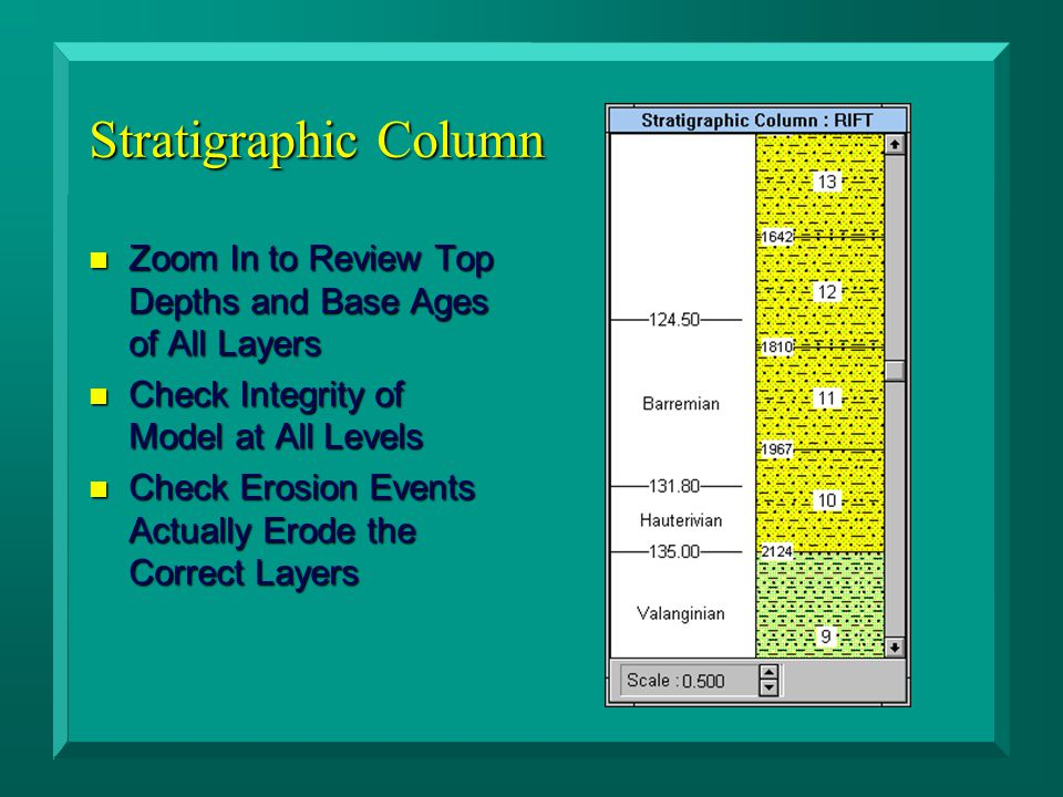 Stratigraphic Column n Zoom In to Review Top Depths and Base Ages of All Layers n Check Integrity of Model at All Levels n Check Erosion Events Actually Erode the Correct Layers