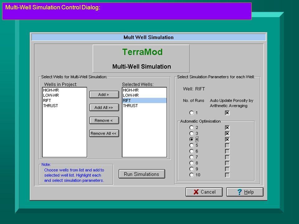 Multi-Well Simulation Control Dialog: