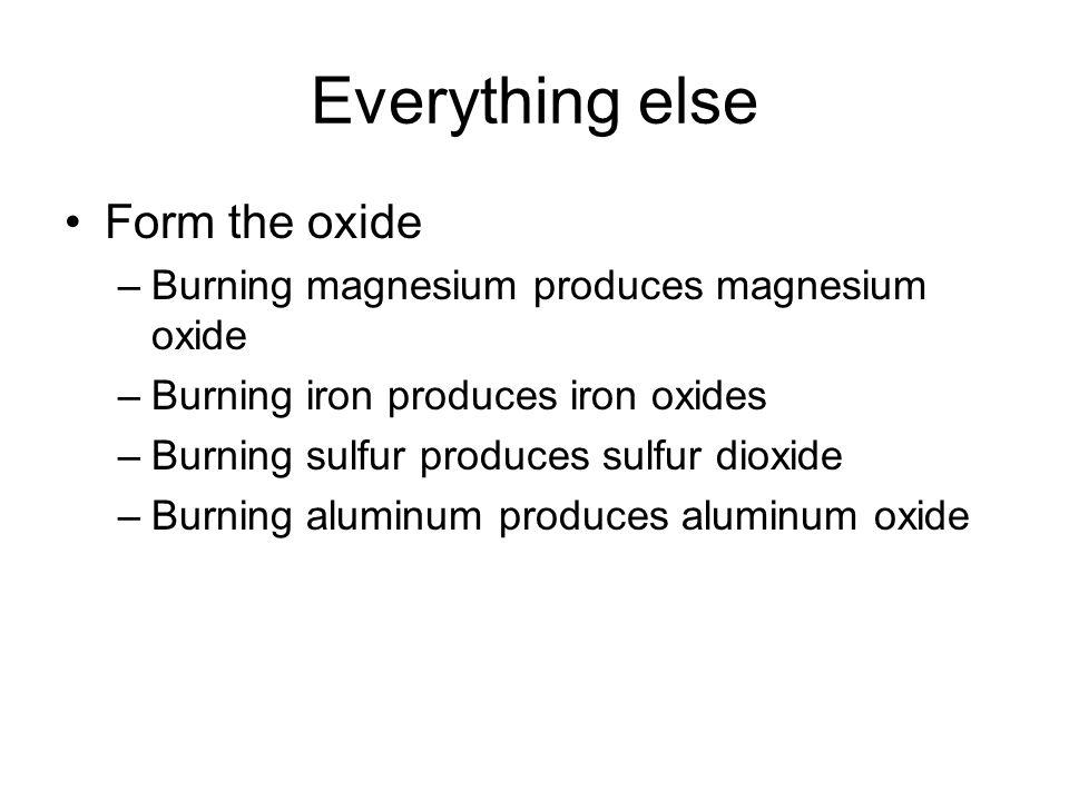 Everything else Form the oxide –Burning magnesium produces magnesium oxide –Burning iron produces iron oxides –Burning sulfur produces sulfur dioxide –Burning aluminum produces aluminum oxide