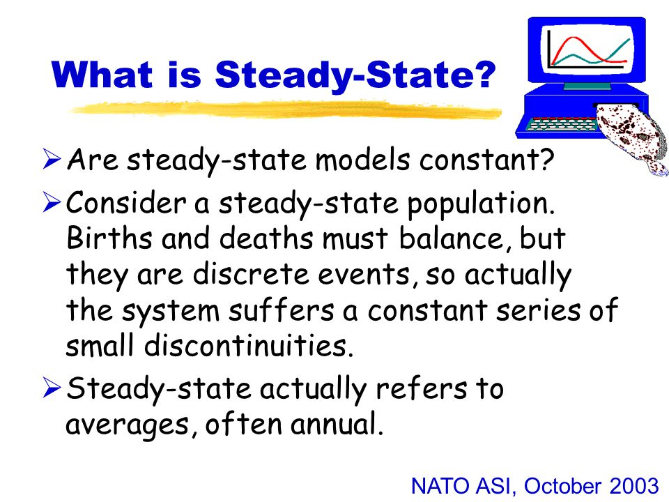 NATO ASI, October 2003 What is Steady-State.  Are steady-state models constant.