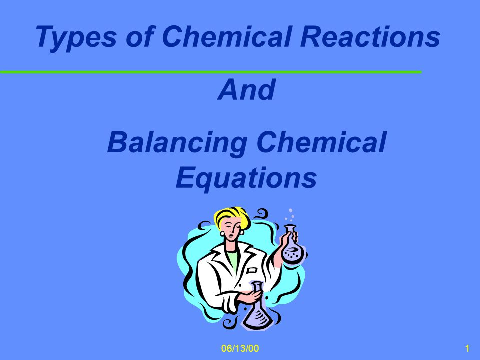 06/13/0032 u balance a chemical equation u define and use the symbols in a chemical equation u Identify and give examples of the different types of chemical reactions u Identify and give examples of acids and bases You should be able to.....
