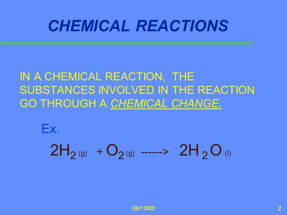 06/13/003 2H 2 (g) + O 2 (g) -------> 2H 2 O (l) 2H 2 (g) + O 2 (g) -------> 2H 2 O (l) u This reaction is interpreted as follows: u 2 moles (or molecules) of hydrogen gas react with 1 mole (or molecule) of oxygen gas to form 2 moles (or molecules) of liquid water.