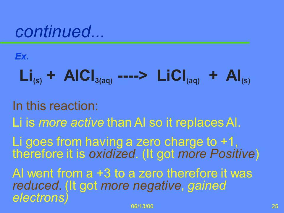 06/13/0025 continued... Ex. Li (s) + AlCl 3(aq) ----> LiCl (aq) + Al (s) In this reaction: Li is more active than Al so it replaces Al. Li goes from h