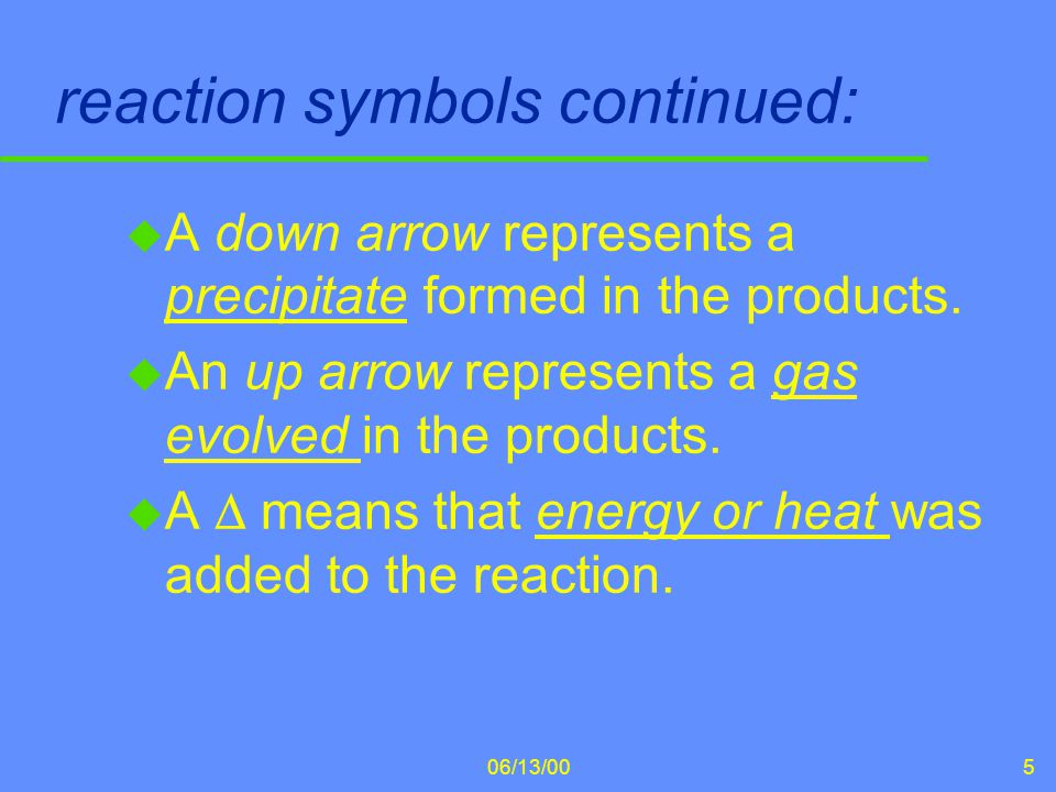 06/13/006 Balancing Chemical Equations u The Law of Conservation of Matter states that the mass of the products coming out of a reaction must equal the mass of the reactants going into the reaction.