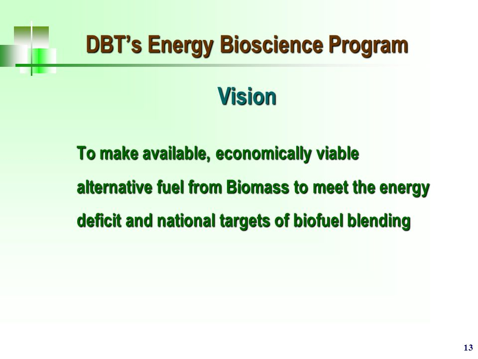 13 DBT's Energy Bioscience Program Vision To make available, economically viable alternative fuel from Biomass to meet the energy deficit and national targets of biofuel blending