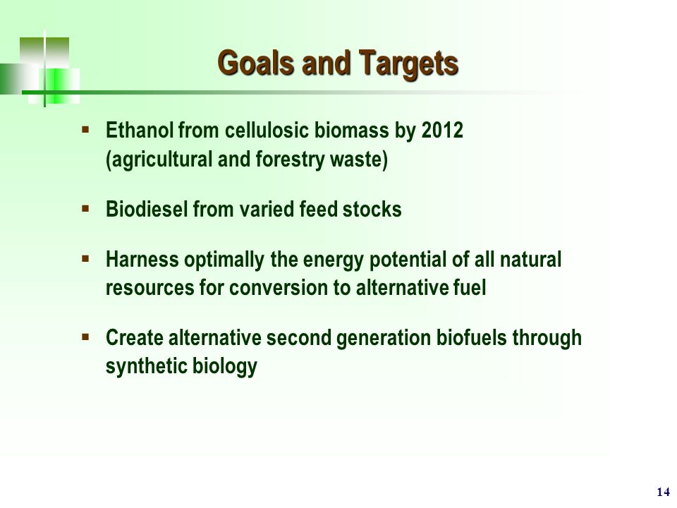 14 Goals and Targets  Ethanol from cellulosic biomass by 2012 (agricultural and forestry waste)  Biodiesel from varied feed stocks  Harness optimally the energy potential of all natural resources for conversion to alternative fuel  Create alternative second generation biofuels through synthetic biology