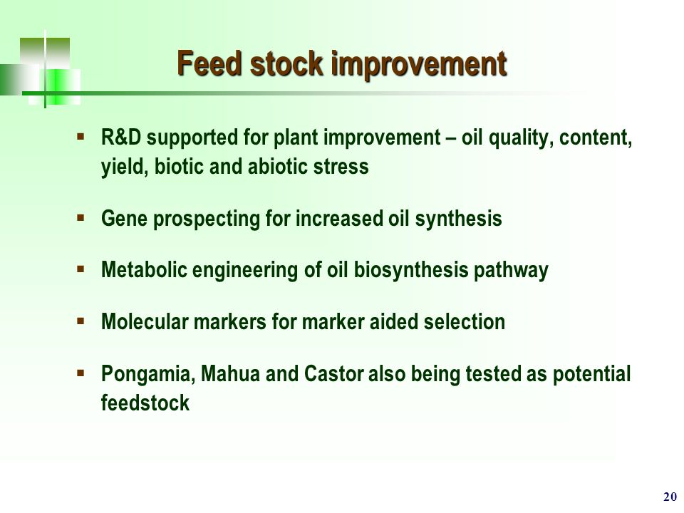 20 Feed stock improvement  R&D supported for plant improvement – oil quality, content, yield, biotic and abiotic stress  Gene prospecting for increased oil synthesis  Metabolic engineering of oil biosynthesis pathway  Molecular markers for marker aided selection  Pongamia, Mahua and Castor also being tested as potential feedstock