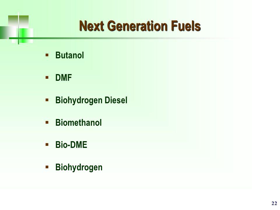 22 Next Generation Fuels  Butanol  DMF  Biohydrogen Diesel  Biomethanol  Bio-DME  Biohydrogen