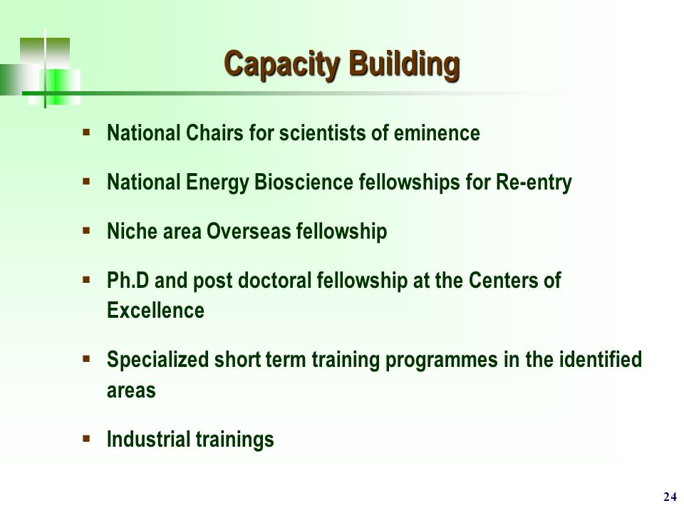 24 Capacity Building  National Chairs for scientists of eminence  National Energy Bioscience fellowships for Re-entry  Niche area Overseas fellowship  Ph.D and post doctoral fellowship at the Centers of Excellence  Specialized short term training programmes in the identified areas  Industrial trainings