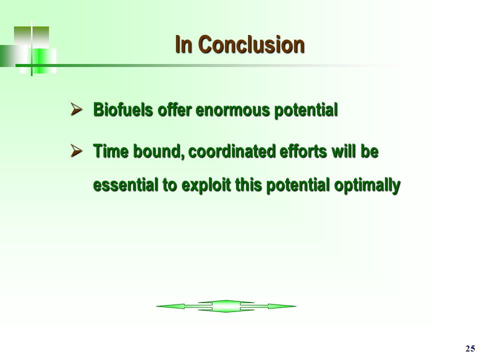 25 In Conclusion  Biofuels offer enormous potential  Time bound, coordinated efforts will be essential to exploit this potential optimally