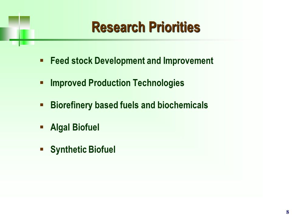 8 Research Priorities  Feed stock Development and Improvement  Improved Production Technologies  Biorefinery based fuels and biochemicals  Algal Biofuel  Synthetic Biofuel