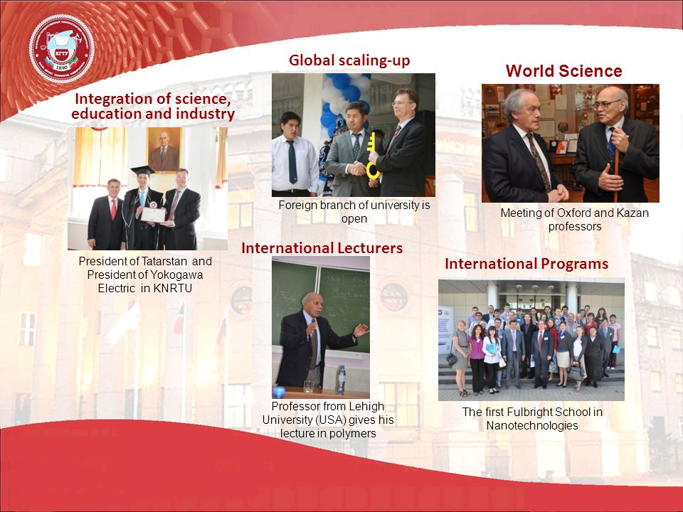 Meeting of Oxford and Kazan professors President of Tatarstan and President of Yokogawa Electric in KNRTU Foreign branch of university is open International Programs Professor from Lehigh University (USA) gives his lecture in polymers The first Fulbright School in Nanotechnologies World Science International Lecturers Global scaling-up Integration of science, education and industry