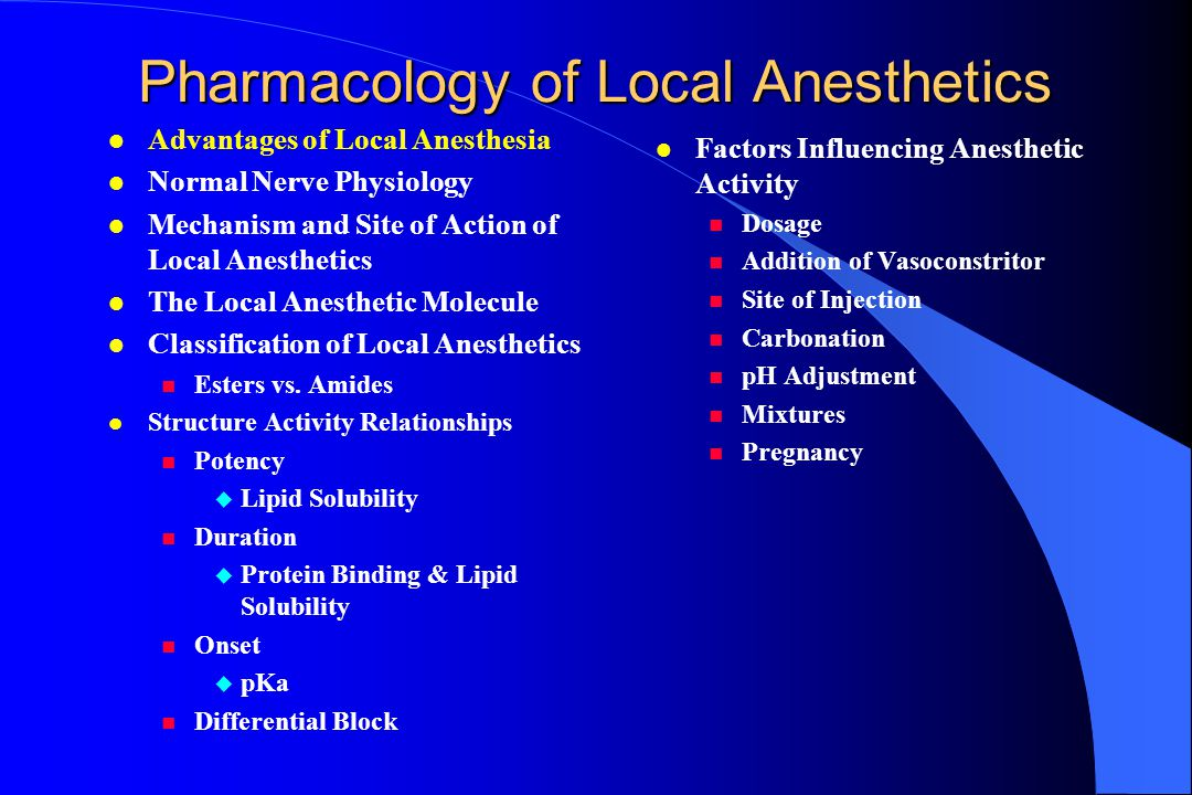 Pharmacology of Local Anesthetics l Factors Influencing Anesthetic Activity Dosage Addition of Vasoconstritor Site of Injection Carbonation pH Adjustm