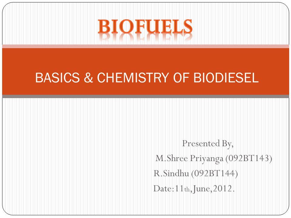 Presented By, M.Shree Priyanga (092BT143) R.Sindhu (092BT144) Date:11 th,June,2012. BASICS & CHEMISTRY OF BIODIESEL
