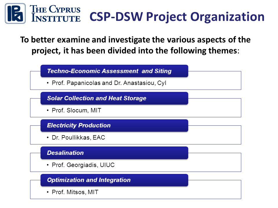 CSP-DSW Project Organization Prof. Papanicolas and Dr.