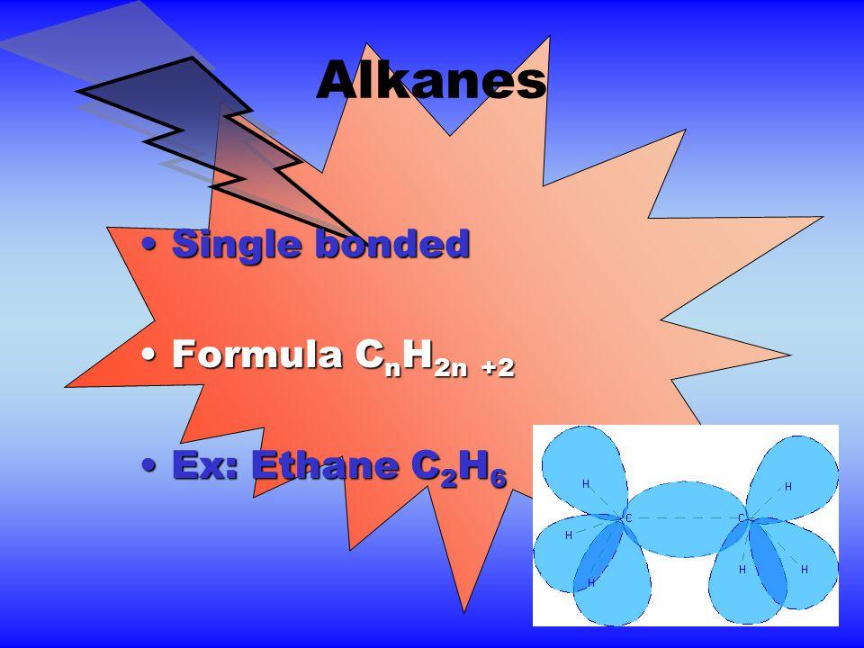 Alkanes Single bondedSingle bonded Formula C n H 2n +2Formula C n H 2n +2 Ex: Ethane C 2 H 6Ex: Ethane C 2 H 6