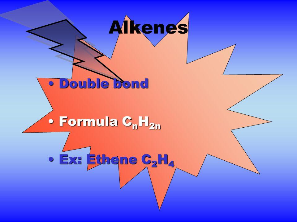 Alkenes Double bondDouble bond Formula C n H 2nFormula C n H 2n Ex: Ethene C 2 H 4Ex: Ethene C 2 H 4