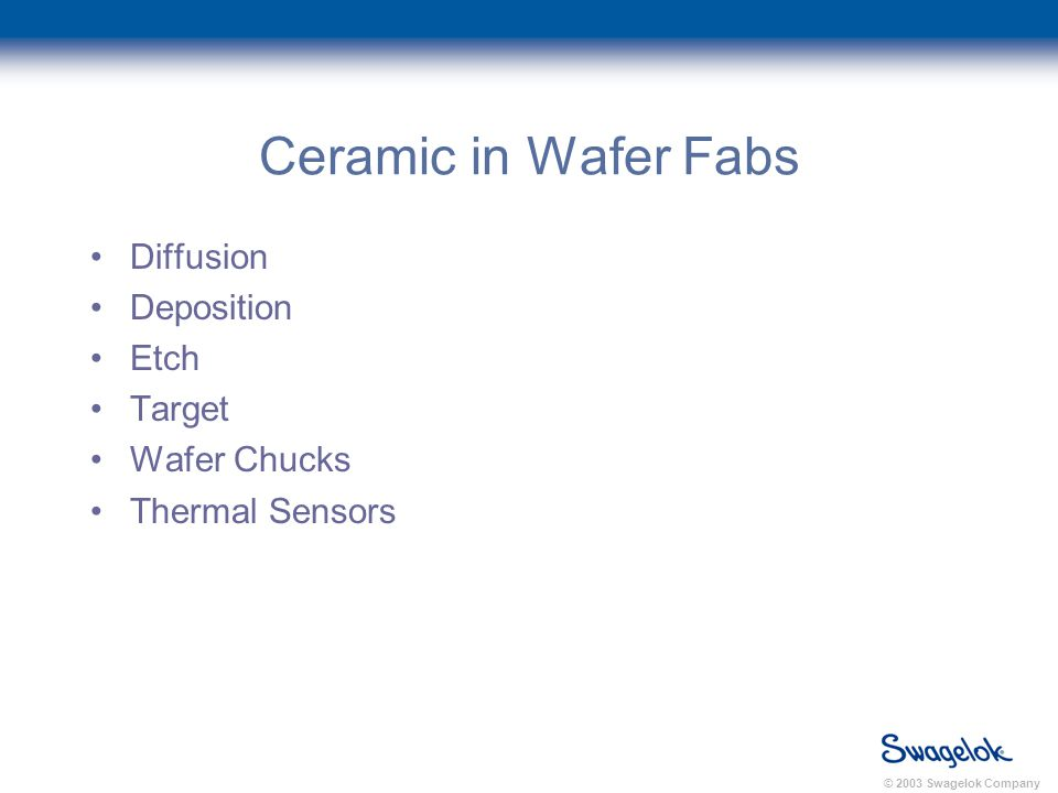 © 2003 Swagelok Company Ceramic in Wafer Fabs Diffusion Deposition Etch Target Wafer Chucks Thermal Sensors
