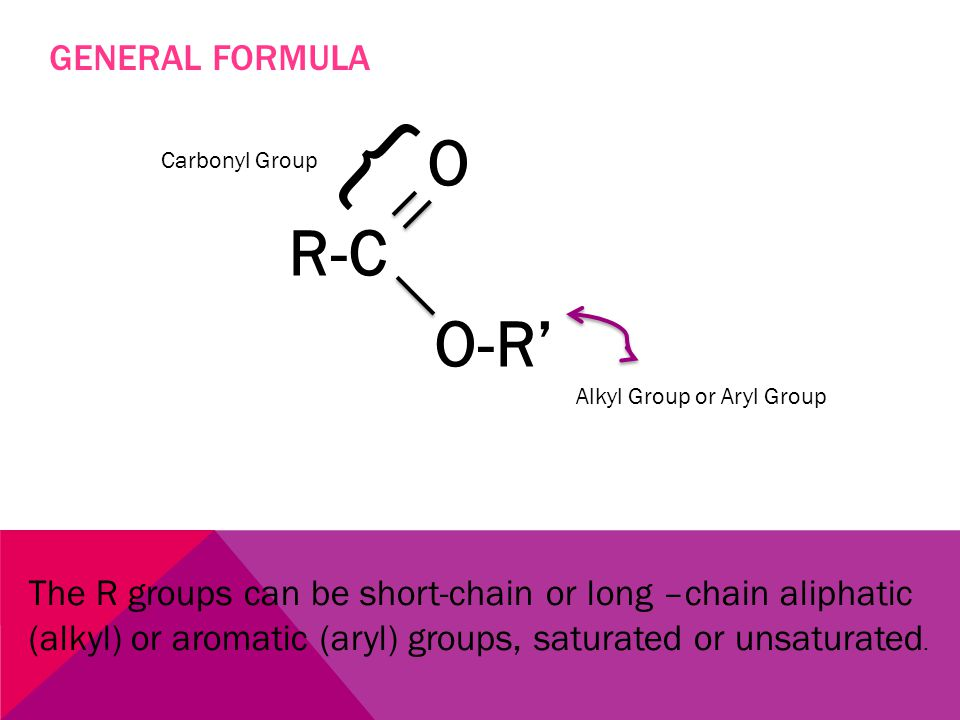 WHAT ARE ESTERS Esters are derivatives of carboxylic acids in which the –OH of the carboxyl group has been replaced by an –OR from an alcohol.