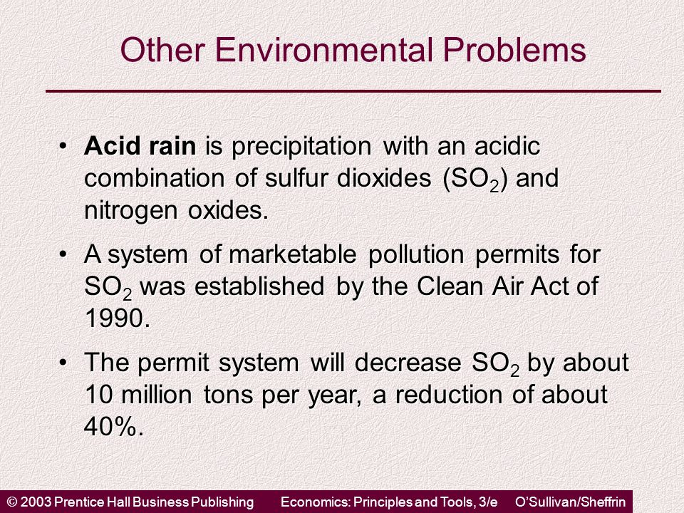 © 2003 Prentice Hall Business PublishingEconomics: Principles and Tools, 3/e O'Sullivan/Sheffrin Other Environmental Problems Acid rain is precipitation with an acidic combination of sulfur dioxides (SO 2 ) and nitrogen oxides.Acid rain is precipitation with an acidic combination of sulfur dioxides (SO 2 ) and nitrogen oxides.
