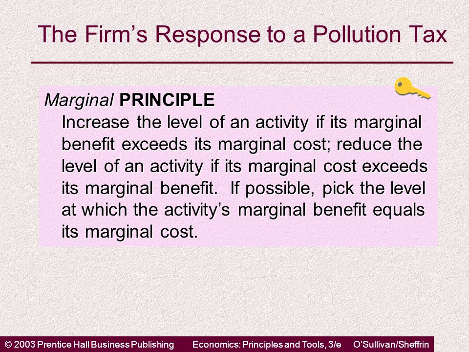 © 2003 Prentice Hall Business PublishingEconomics: Principles and Tools, 3/e O'Sullivan/Sheffrin The Firm's Response to a Pollution Tax Marginal PRINCIPLE Increase the level of an activity if its marginal benefit exceeds its marginal cost; reduce the level of an activity if its marginal cost exceeds its marginal benefit.