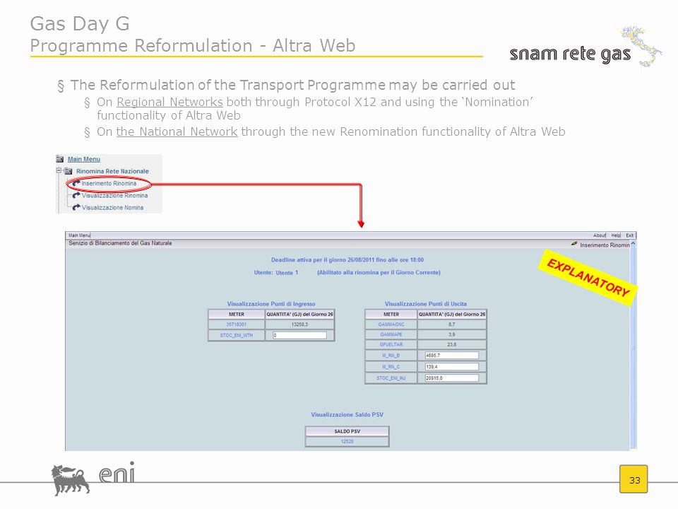 33 Gas Day G Programme Reformulation - Altra Web §The Reformulation of the Transport Programme may be carried out §On Regional Networks both through Protocol X12 and using the 'Nomination' functionality of Altra Web §On the National Network through the new Renomination functionality of Altra Web EXPLANATORY