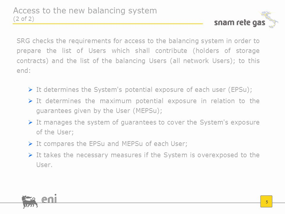 6  The EPSu or potential exposure of the System to the User is the potential debt, calculated on a daily basis, of the User with reference to the balancing service.