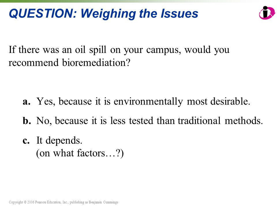 Copyright © 2006 Pearson Education, Inc., publishing as Benjamin Cummings QUESTION: Weighing the Issues If there was an oil spill on your campus, would you recommend bioremediation.