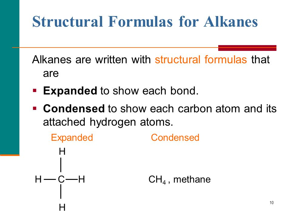 10 Structural Formulas for Alkanes Alkanes are written with structural formulas that are  Expanded to show each bond.  Condensed to show each carbon