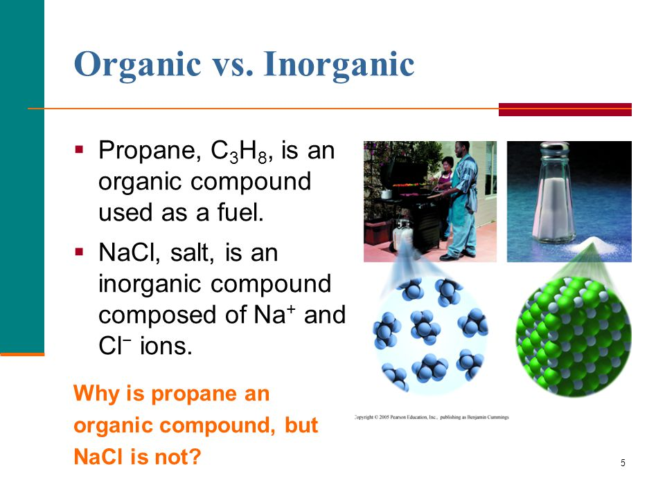 5 Organic vs. Inorganic  Propane, C 3 H 8, is an organic compound used as a fuel.  NaCl, salt, is an inorganic compound composed of Na + and Cl − io