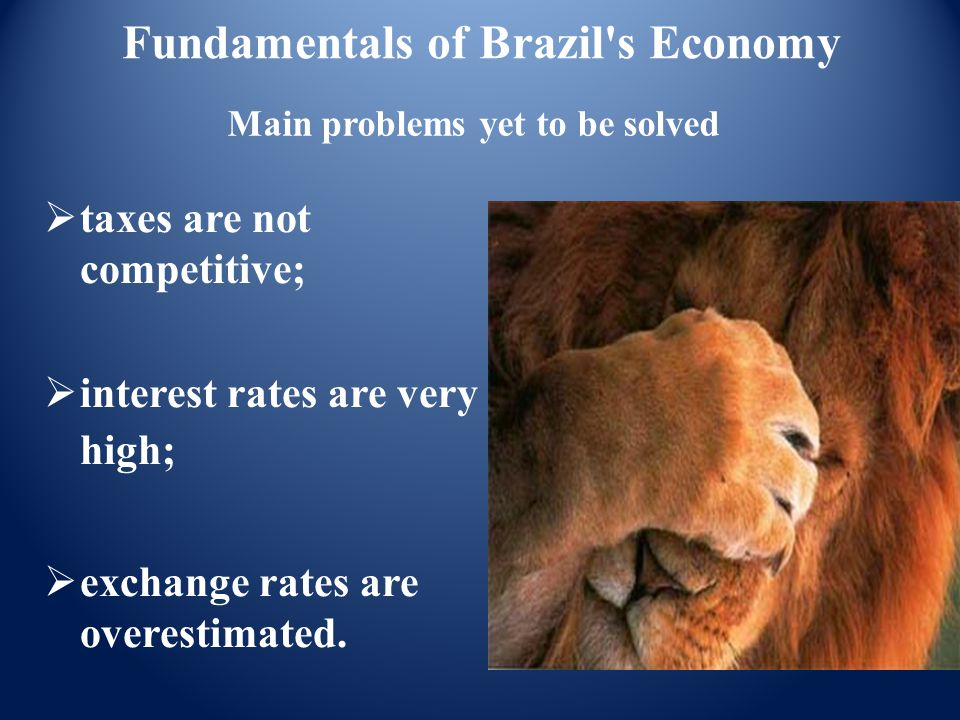Main problems yet to be solved  taxes are not competitive;  interest rates are very high;  exchange rates are overestimated. Fundamentals of Brazil