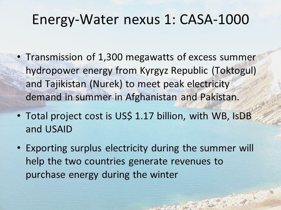 Energy-Water nexus 1: CASA-1000 Transmission of 1,300 megawatts of excess summer hydropower energy from Kyrgyz Republic (Toktogul) and Tajikistan (Nur