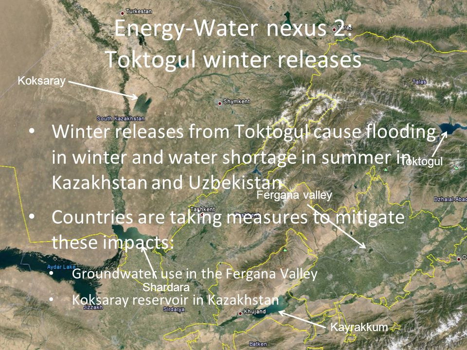 Energy-Water nexus 2: Toktogul winter releases Winter releases from Toktogul cause flooding in winter and water shortage in summer in Kazakhstan and Uzbekistan Countries are taking measures to mitigate these impacts: Groundwater use in the Fergana Valley Koksaray reservoir in Kazakhstan Koksaray Shardara Toktogul Kayrakkum Fergana valley