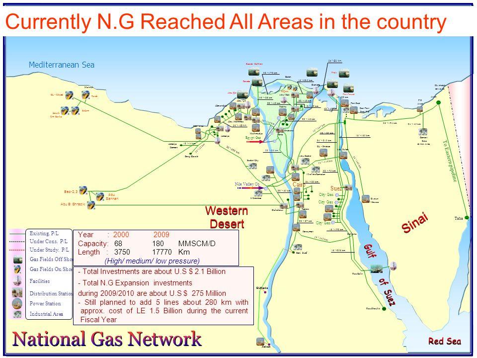 Baltim Damietta Talkha Shabshir Tanta Oyoun Moussa Sadat City Abu Zaabal 10 of the Ramadan Dahshour Tebbin Suez City Gas Zafrana City Gas Koraymat Nil