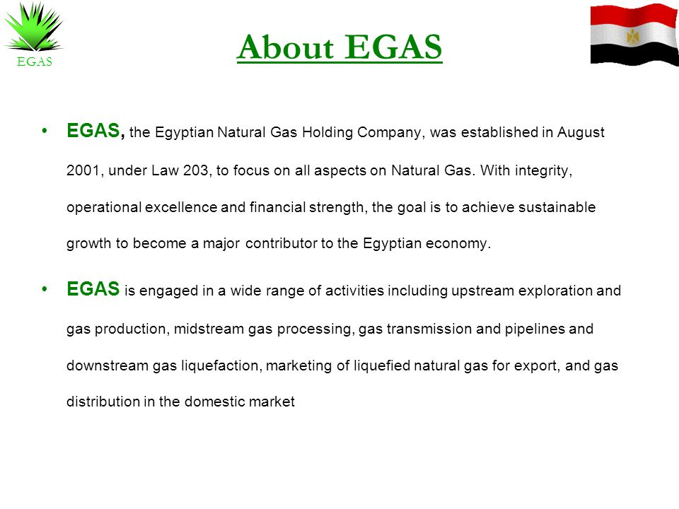 EGAS About EGAS EGAS, the Egyptian Natural Gas Holding Company, was established in August 2001, under Law 203, to focus on all aspects on Natural Gas.