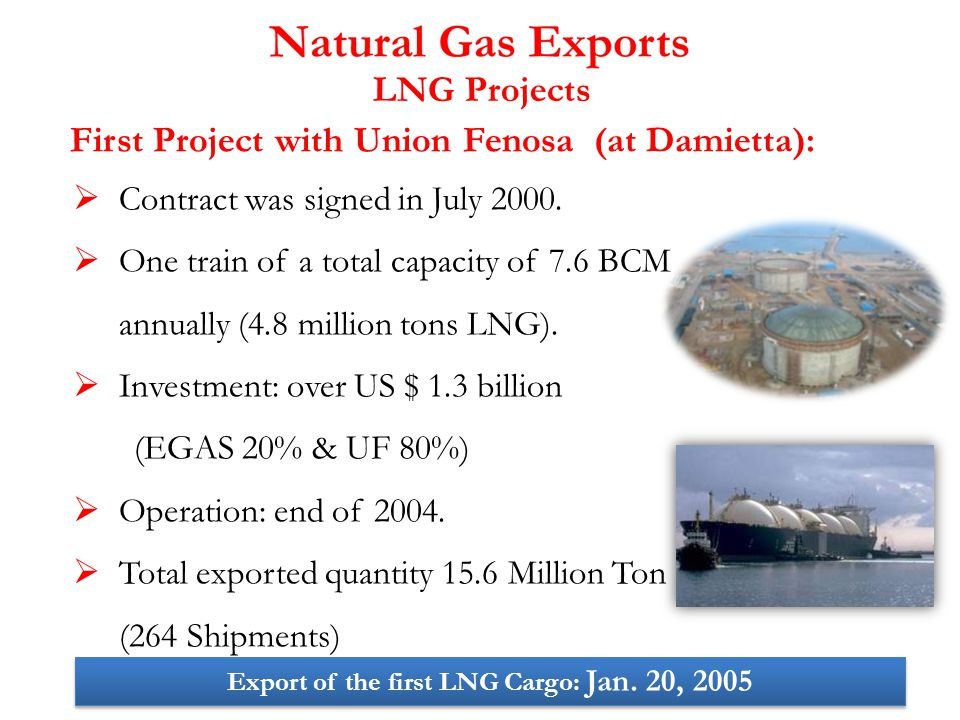  Contract was signed in July 2000.  One train of a total capacity of 7.6 BCM annually (4.8 million tons LNG).  Investment: over US $ 1.3 billion (E