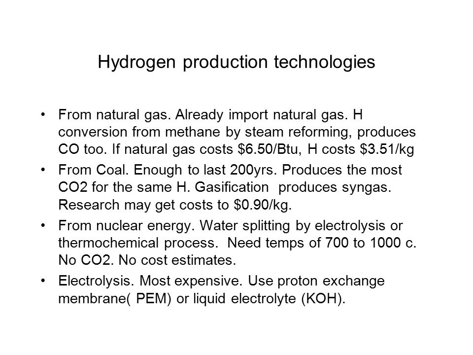 Hydrogen production technologies From natural gas.