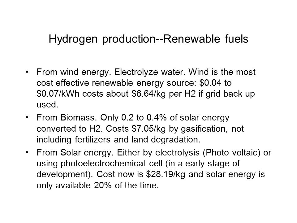 Hydrogen production--Renewable fuels From wind energy.