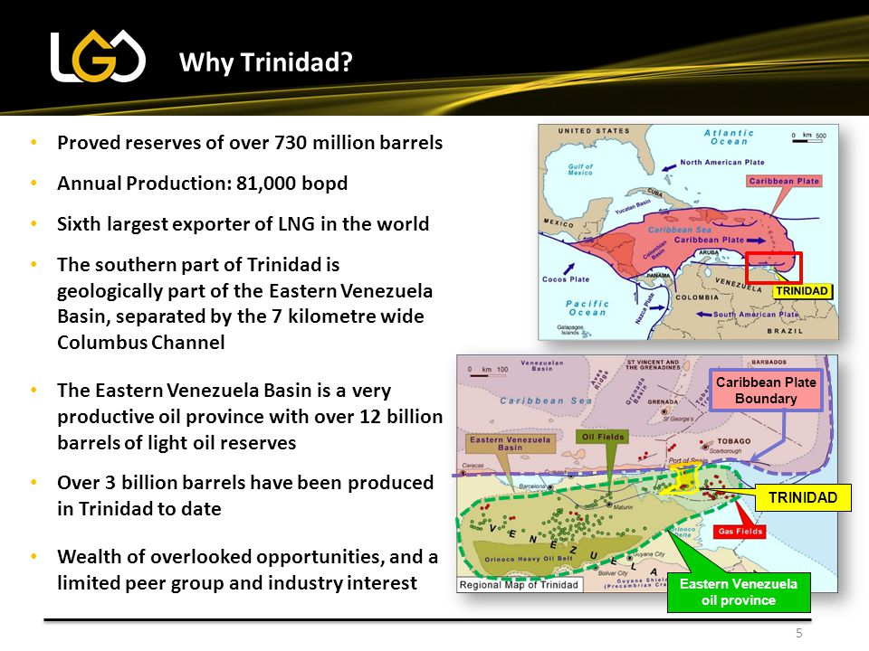 5 Why Trinidad? Proved reserves of over 730 million barrels Annual Production: 81,000 bopd Sixth largest exporter of LNG in the world The southern par