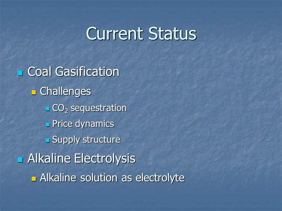 Current Status Alkaline Electrolysis Alkaline Electrolysis Efficiencies, lifetime and costs.