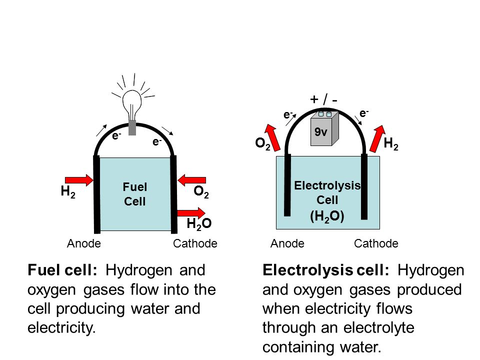 Electrochemical reactions Cathode – hydrogen reduced –4H 2 O + 4e -  2H 2 + 4OH - Anode – hydrogen oxidized –2H 2 O  O 2 + 4H + + 4e - Overall reactions –2H 2 O  O 2 + 2H 2 –4OH - + 4H +  4H 2 O Overall reaction requires electrical energy added