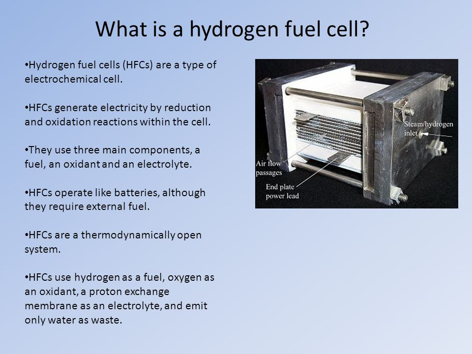 What is a hydrogen fuel cell. Hydrogen fuel cells (HFCs) are a type of electrochemical cell.