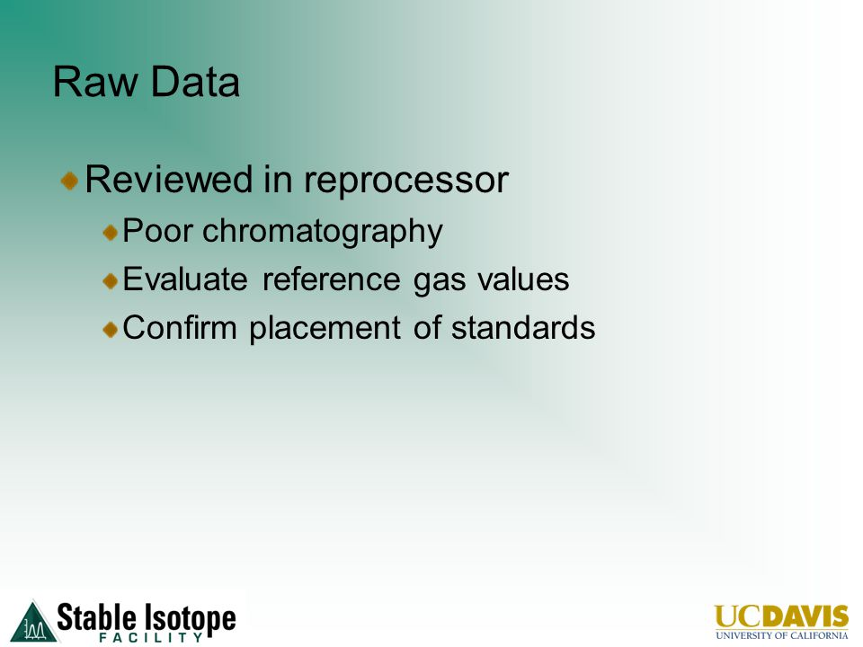 Raw Data Reviewed in reprocessor Poor chromatography Evaluate reference gas values Confirm placement of standards