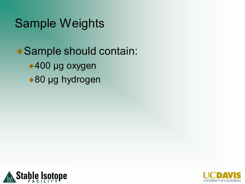 Sample Weights Sample should contain: 400 µg oxygen 80 µg hydrogen