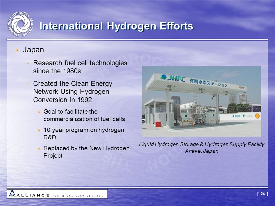 [ 24 ] International Hydrogen Efforts  Japan  Research fuel cell technologies since the 1980s  Created the Clean Energy Network Using Hydrogen Conv